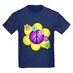 Peace Blossoms /purple Kids Dark T-Shirt