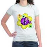Peace Blossoms /purple Jr. Ringer T-Shirt