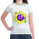 Peace Blossoms /purple Jr. Ringer T-Shirt