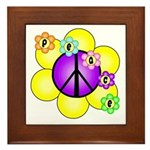 Peace Blossoms /purple Framed Tile