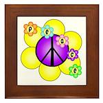 Peace Blossoms /purple Framed Tile