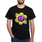 Peace Blossoms /purple Dark T-Shirt