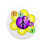 "Peace Blossoms /purple 3.5"" Button"