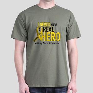 Never Knew A Hero 2 GOLD (Niece) Dark T-Shirt