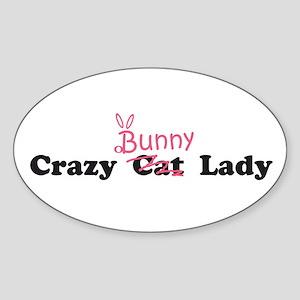 crazy bunny lady Oval Sticker
