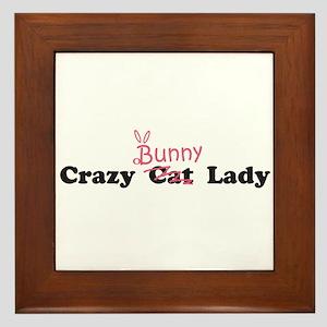 crazy bunny lady Framed Tile