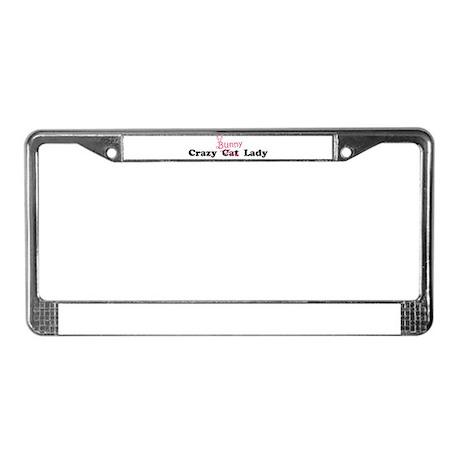 crazy bunny lady License Plate Frame