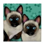 SIAMESE CATS FLOWERS Tile Coaster