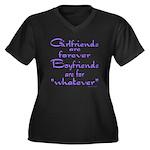 GIRLFRIENDS Women's Plus Size V-Neck Dark T-Shirt
