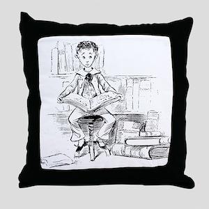 Little reader, big book Throw Pillow
