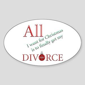 Christmas Divorce Oval Sticker