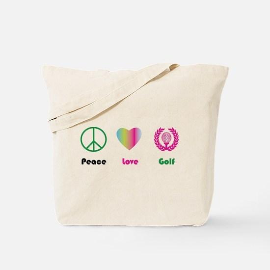 Peace, Love, Golf- Tote Bag