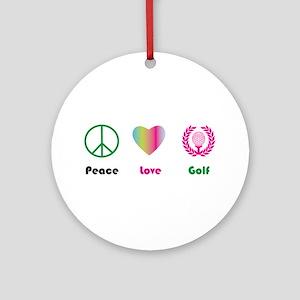 Peace, Love, Golf - Ornament (Round)
