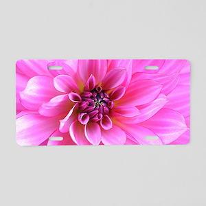 Pink Floral Wave Aluminum License Plate