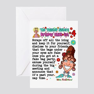 Twisted Sister Chicklist #4 Greeting Card