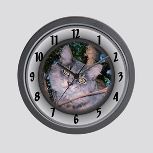 Maine Coon /gray Wall Clock