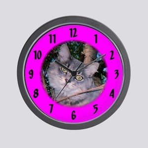 Maine Coon /magenta Wall Clock