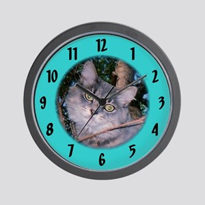 Maine Coon /teal Wall Clock