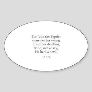 LUKE 7:33 Oval Sticker