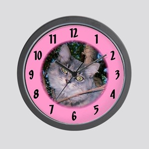 Maine Coon/pink Wall Clock