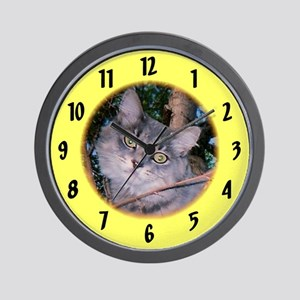 Maine Coon /yellow Wall Clock