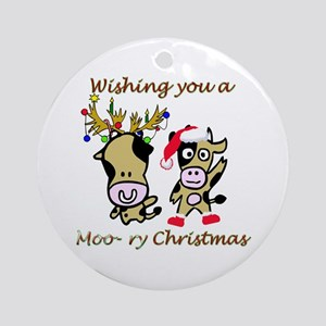 Cow Christmas Ornament (Round)