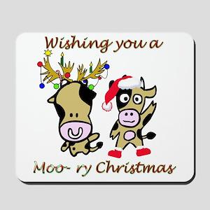 Cow Christmas Mousepad