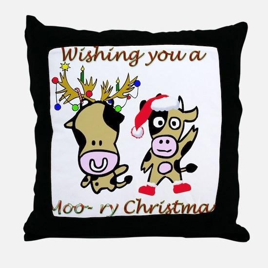 Cow Christmas Throw Pillow
