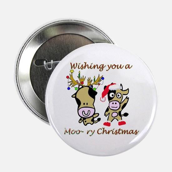 """Cow Christmas 2.25"""" Button"""