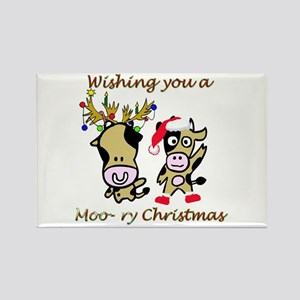 Cow Christmas Rectangle Magnet