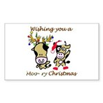 Cow Christmas Rectangle Sticker
