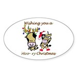 Cow Christmas Oval Sticker