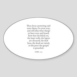 LUKE 7:22 Oval Sticker