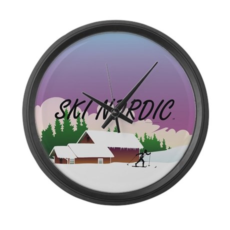 Ski Nordic Large Wall Clock