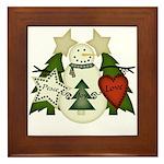 Peace Love Joy Snowman Framed Tile