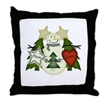 Peace Love Joy Snowman Throw Pillow