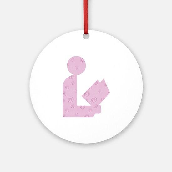Purple Swirls Library Logo Ornament (Round)