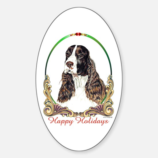 Springer Spaniel Holiday Oval Decal