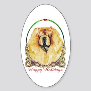 Red Chow Chow Holiday Oval Sticker