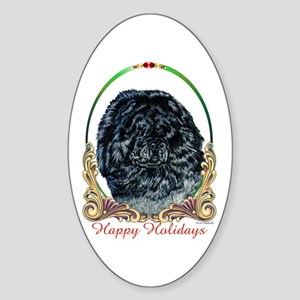 Black Chow Holiday Oval Sticker