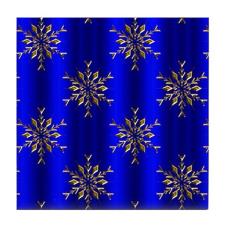 Blue Christmas, Gold Stars Tile Coaster