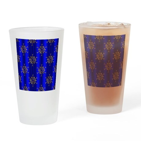 Blue Christmas, Gold Stars Drinking Glass