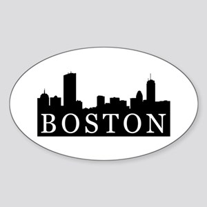 Boston Skyline Oval Sticker