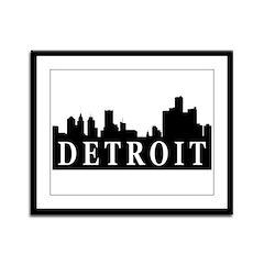 Detroit Skyline Framed Panel Print
