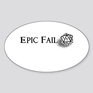 Epic Fail d20 Oval Sticker