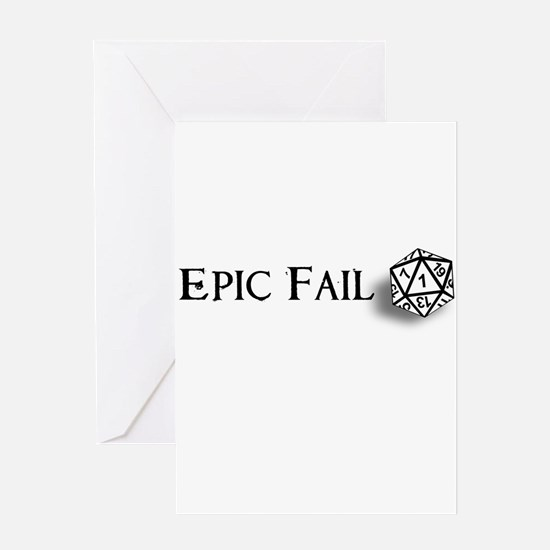 Epic Fail d20 Greeting Card