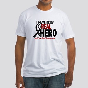 Never Knew A Hero 2 MELANOMA (Aunt) Fitted T-Shirt