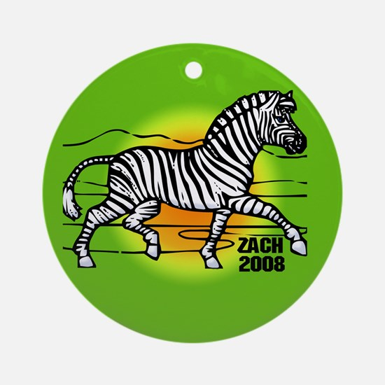 Zach African Zebra Ornament Ornament (Round)