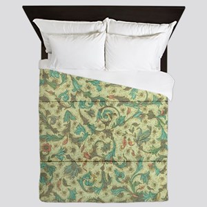 Rustic Country Floral Ornaments Wood Queen Duvet