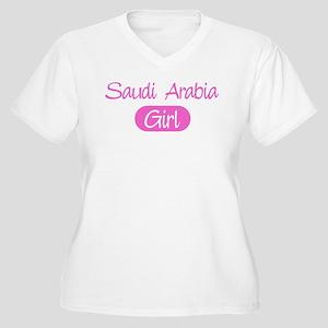 Saudi Arabia girl Women's Plus Size V-Neck T-Shirt